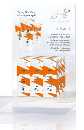 # clear it cream, 50 ml Display-Komplettangebot, 6 x 50 ml + 10 Setkarten + 10 Proben