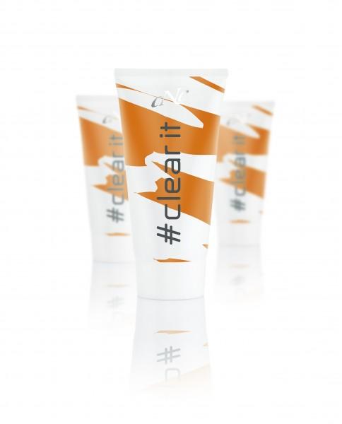 Displaybestückung # clear it cream, 6x 50 ml + 10 Setkarten + 10 Proben