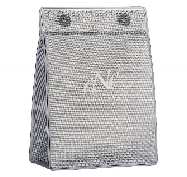 Transparente Tasche mit CNC-Logo, Maße 12,5x6x17,5 cm