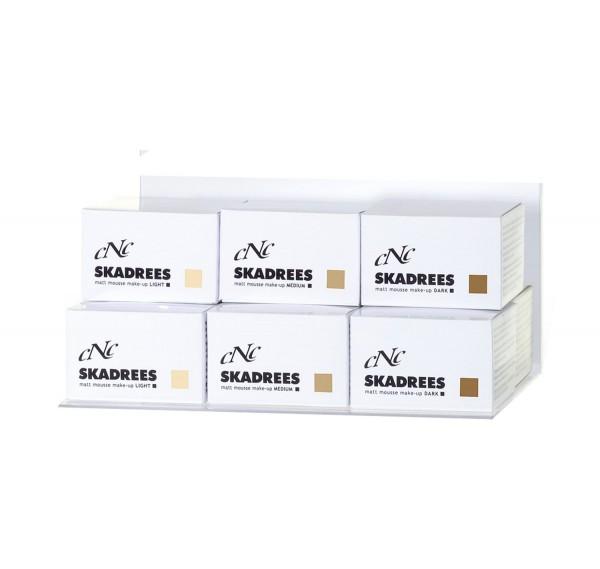 Displaybestückung SKADREES matt mousse make-up light/medium/dark