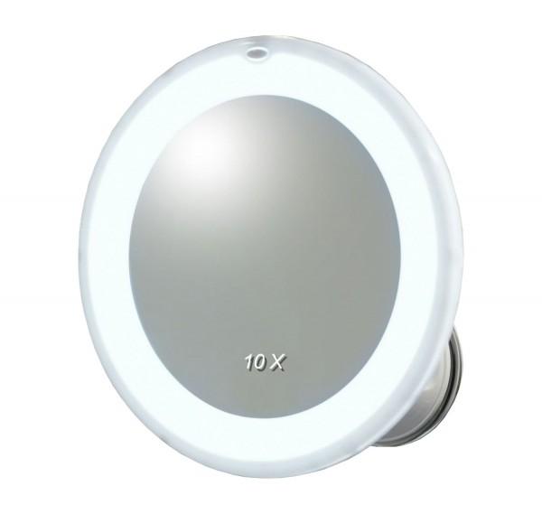 Spiegel mit LED- Beleuchtung, Saugfuss, 10-fach Vergrößerung